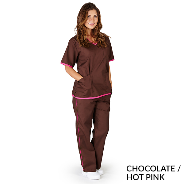 Womens Contrast Trim Scrub Set Medical Scrub Set